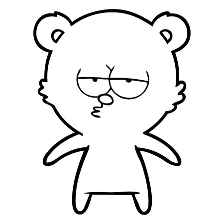 bored bear cartoon Vector illustration. Ilustração