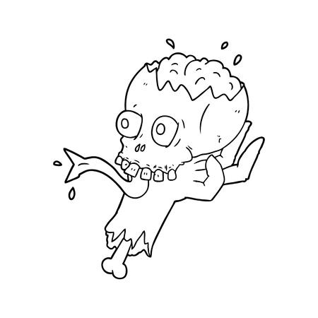 ゾンビの手ベクトルイラストで漫画のハロウィーンの頭蓋骨。