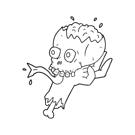 cartoon halloween skull in zombie hand Vector illustration.