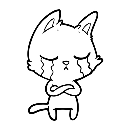 crying cartoon cat with folded arms Vector illustration.