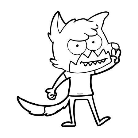 cartoon grinning fox Vector illustration.