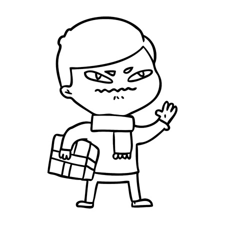 cartoon angry man carrying parcel Vector illustration.