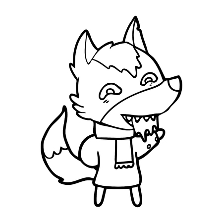 A cartoon hungry wolf in winter clothes isolated on white background.