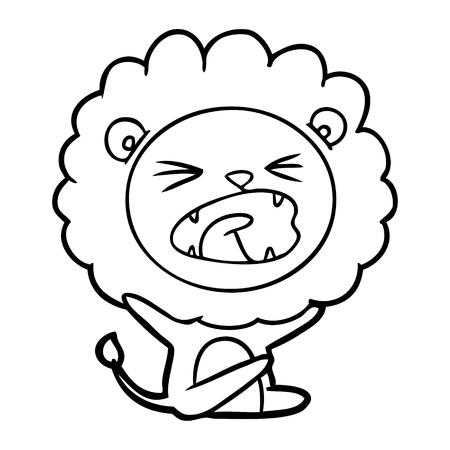 cartoon lion throwing tantrum Vector illustration. Illustration