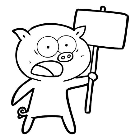 cartoon pig protesting Vector illustration.