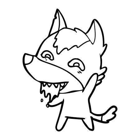 Cartoon hungry wolf vector illustration