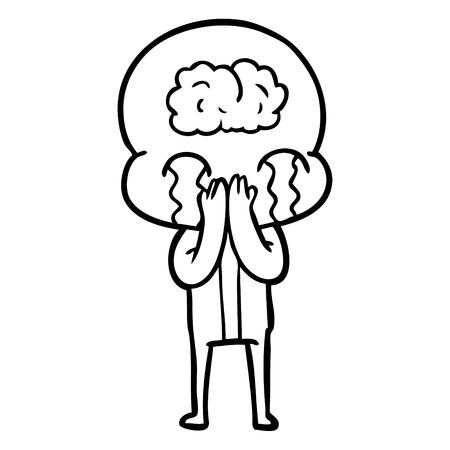 cartoon big brain alien crying Vector illustration. 스톡 콘텐츠 - 95692610