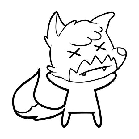 cartoon cross eyed fox Vector illustration.