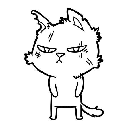 白い背景に隔離されたタフな漫画の猫。