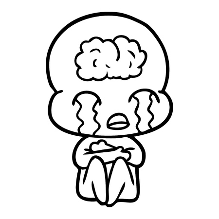 cartoon big brain alien crying Vector illustration.