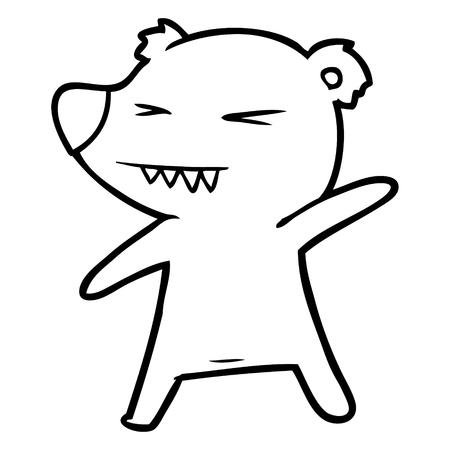 angry polar bear cartoon Vector illustration. Stock Vector - 95692661