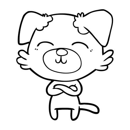 cartoon dog crossing arms Vector illustration.