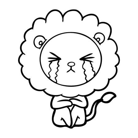cartoon crying lion sitting huddled up Vector illustration.