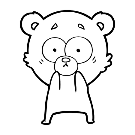 Anxious bear cartoon isolated on white background.