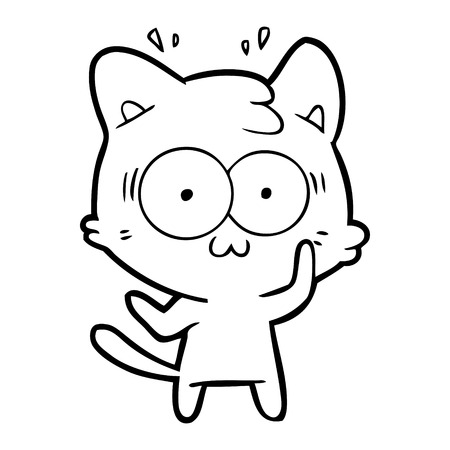 cartoon surprised cat Vector illustration.