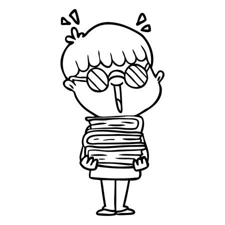 cartoon jongen met geweldige boeken Vector illustratie. Stock Illustratie