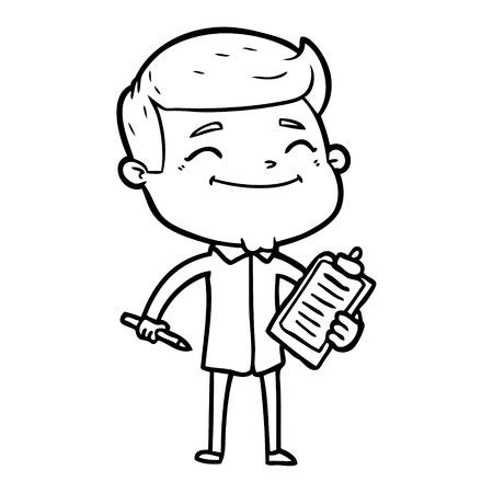A happy cartoon man taking survey isolated on white background.