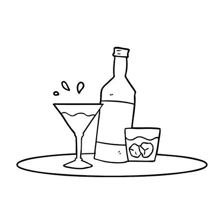 Cartoon drinks on tray vector illustration Çizim