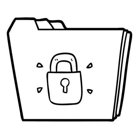 A cartoon locked files isolated on white background.