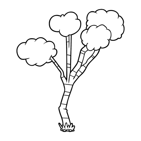 A cartoon sparse tree isolated on white background.