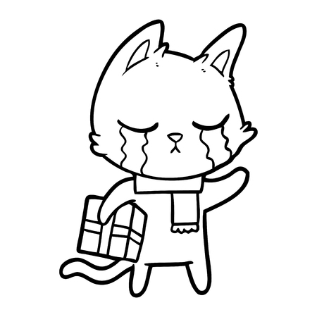 crying cartoon cat holding christmas present