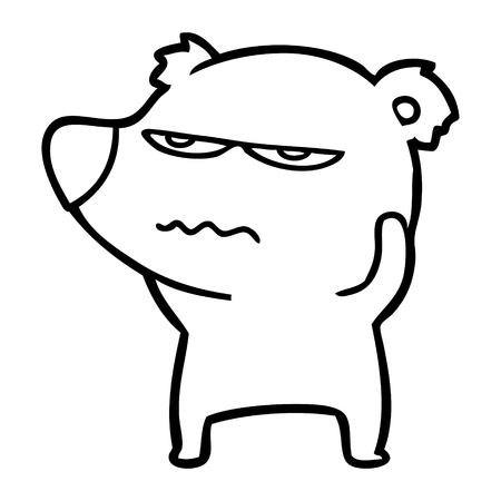 Angry bear polar cartoon isolated on white background.