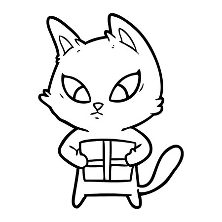 A confused cartoon cat with gift isolated on white background. Illustration