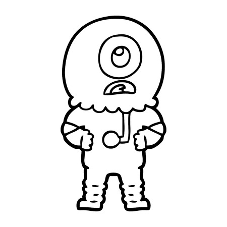 cartoon cyclops alien spaceman Vector illustration. Illusztráció