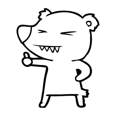 cartoon bear giving thumbs up Vector illustration. Ilustração