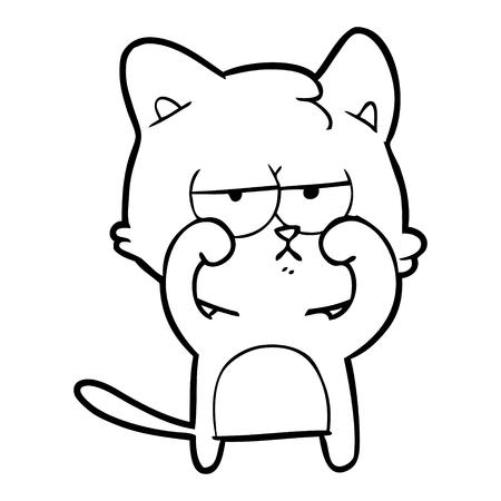 tired cartoon cat rubbing eyes Vector illustration.