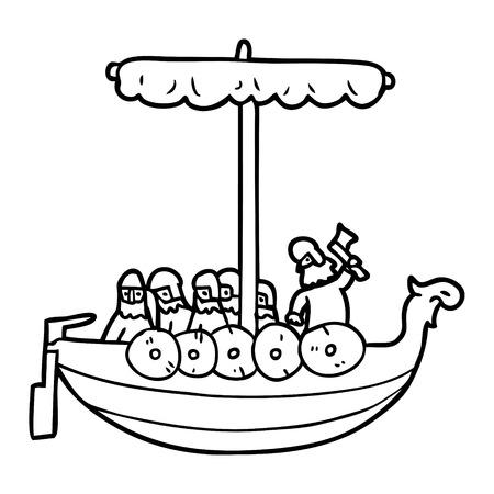 cartoon vikings sailing Vector illustration.