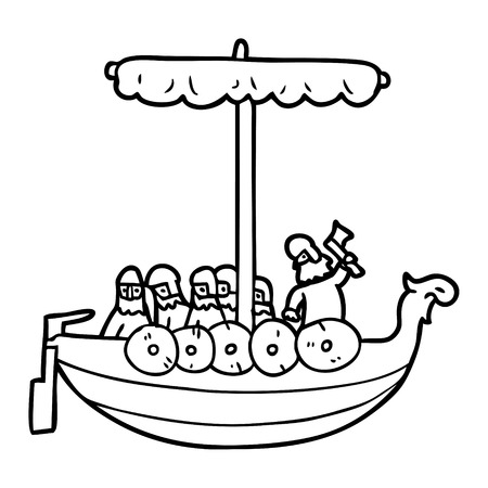 cartoon vikings sailing Vector illustration.