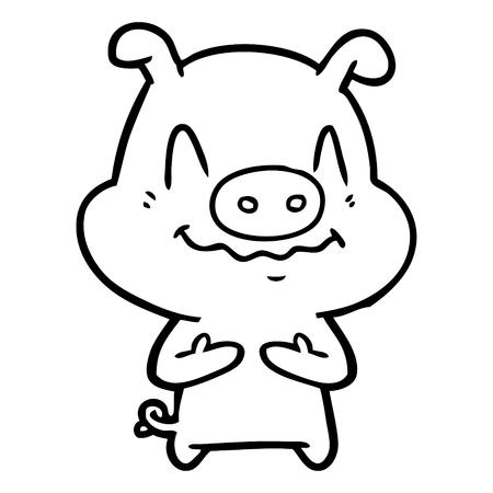 Nervous cartoon pig vector illustration