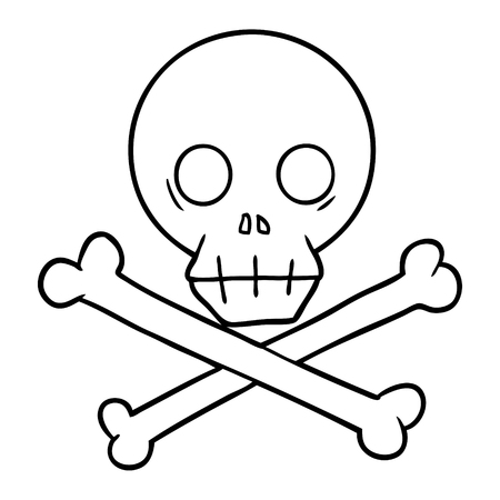 A cartoon skull and crossbones isolated on white background. Illustration