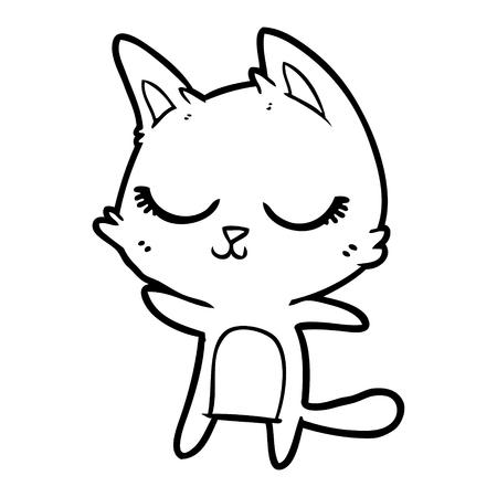 calm cartoon cat Vector illustration. Illustration