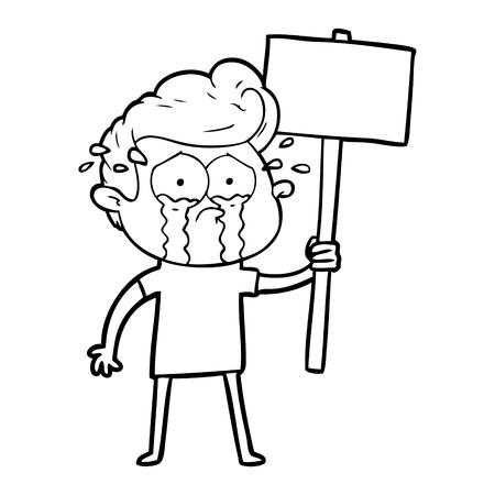 cartoon crying protester Vector illustration. Stock Vector - 95692846