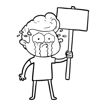 cartoon crying protester Vector illustration. Illustration