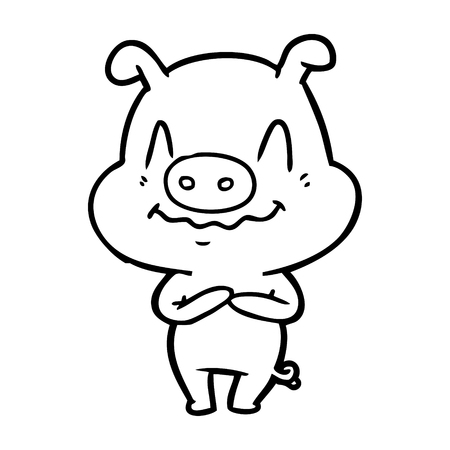 神経質な漫画豚ベクトルイラスト  イラスト・ベクター素材