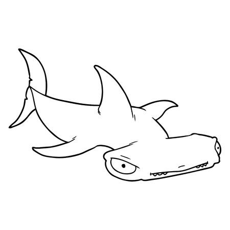 A cartoon hammerhead shark isolated on white background.