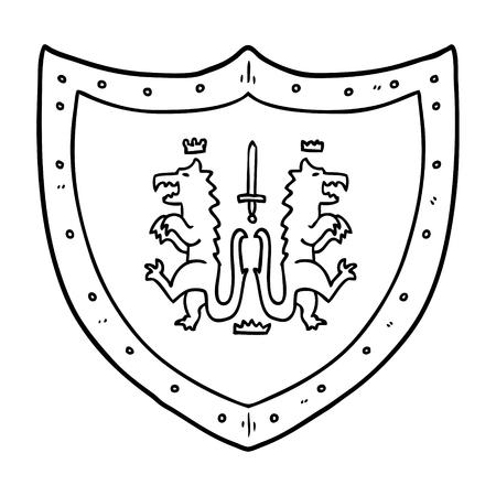cartoon heraldic shield Vector illustration. Reklamní fotografie - 95692858