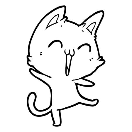 happy cartoon cat meowing Vector illustration.