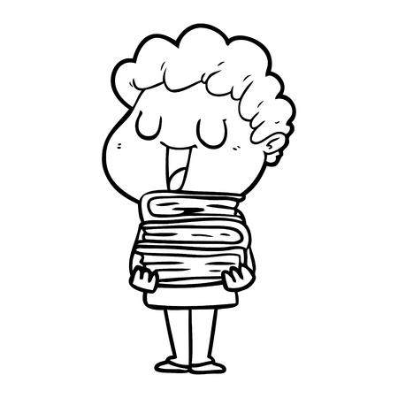 laughing cartoon man with books Vector illustration. Illustration