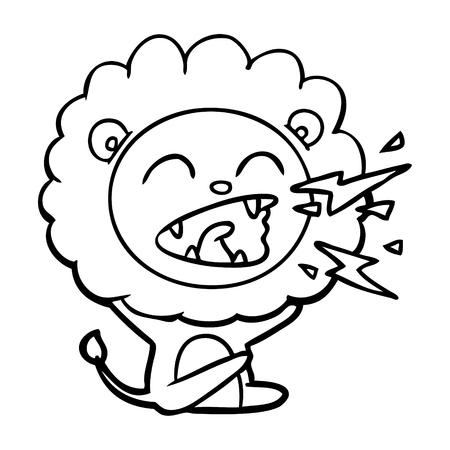 cartoon roaring lion Vector illustration.