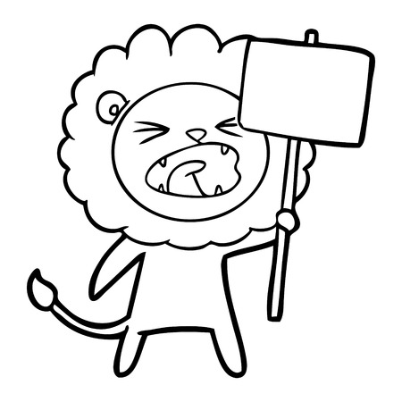 cartoon lion with protest sign Vector illustration. Illustration