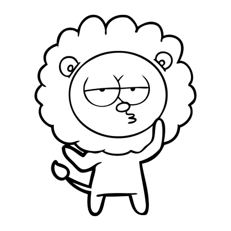 A cartoon tired lion isolated on white background.