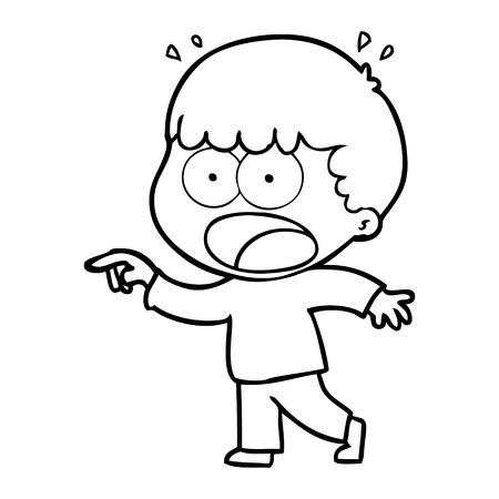 Cartoon shocked man pointing vector illustration