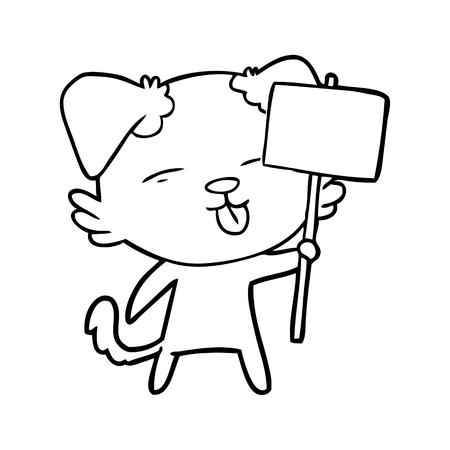 cartoon dog holding sign post Vector illustration.
