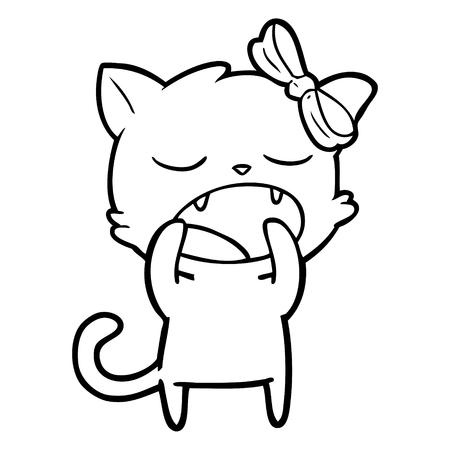A cartoon yawning cat isolated on white background.