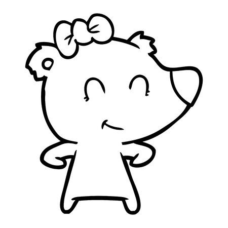 A female bear cartoon isolated on white background. Archivio Fotografico - 95669532
