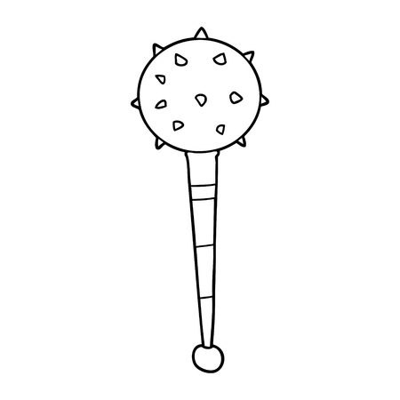 A cartoon medieval mace isolated on white background. Illustration